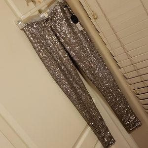 Silver sequin leggings XS nwt $120 retail
